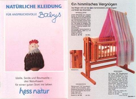 der erste hessnatur Babykatalog, 1993