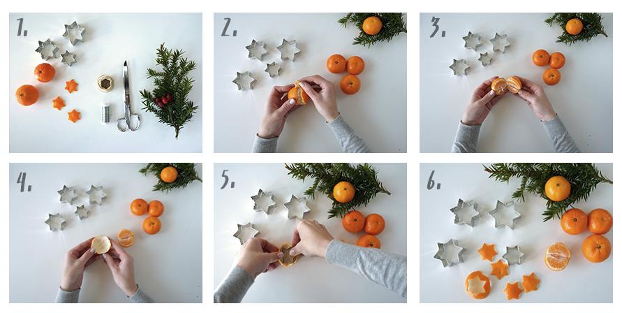 DIY Bastelanleitung für Mandarinen-Sterne